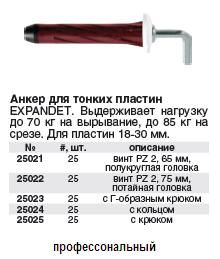 Anchor for thin plates of 18-30 mm, RED (loading on having dug 70 kg, on a cut of 85 kg) screw PZ 2, 65 mm, a semicircular head, 25 pieces FIT